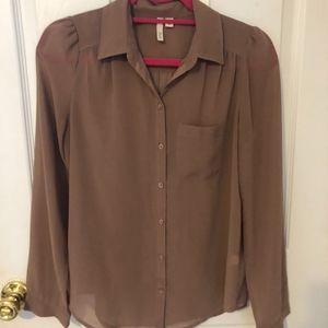 Taupe Button Up Chiffon Shirt